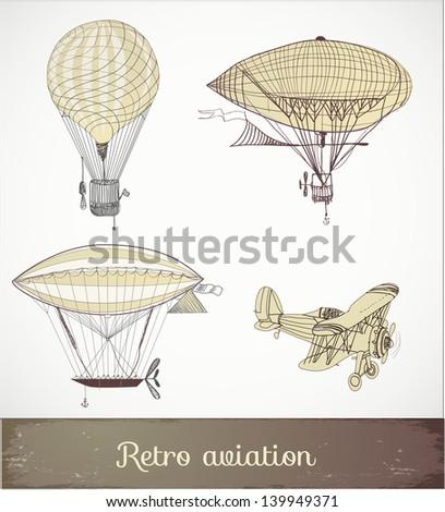 Retro aviation collection, Vector illustration. - stock vector