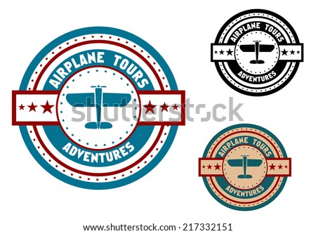 Retro aviation tours travel icon or emblem with old airplane and symbols for tourism or transportation design - stock vector