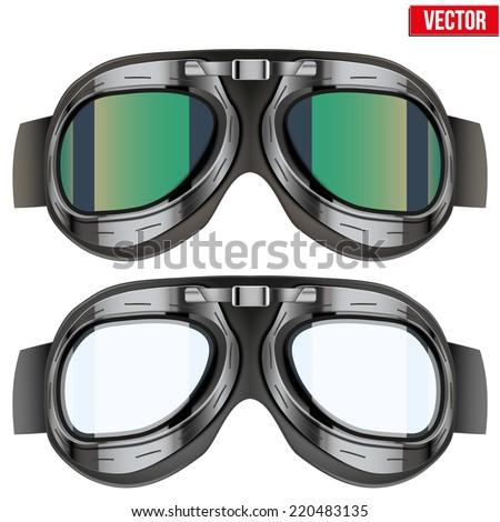 Retro aviator pilot glasses goggles. Vintage object. Vector Illustration. Isolated on white - stock vector