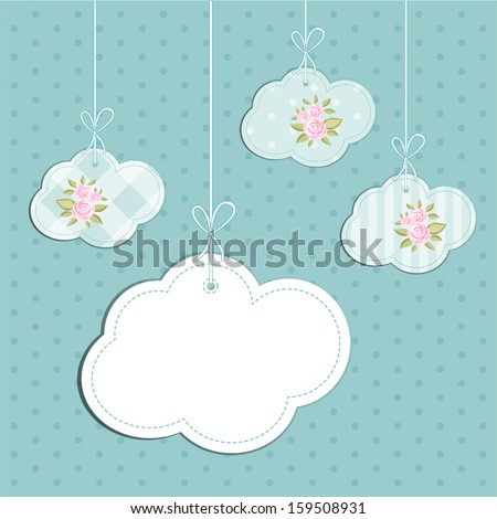 Retro background as handmade fabric clouds with vintage roses in shabby chic style, scrap booking elements - stock vector