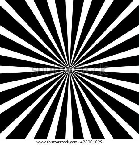 Retro background  black and white rays - stock vector