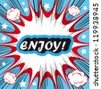 Retro background Design Template boom with word ENJOY Comic book background - stock vector