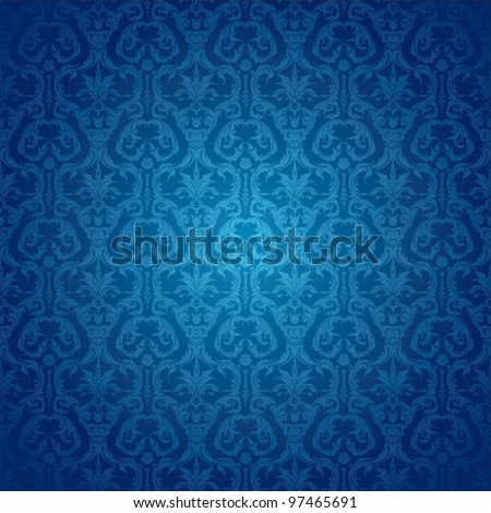 Retro background floral blue pattern - stock vector