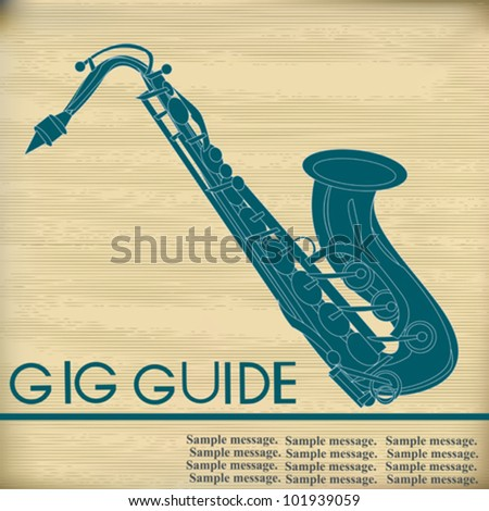 Retro Background illustration for a Saxophone music performance - stock vector