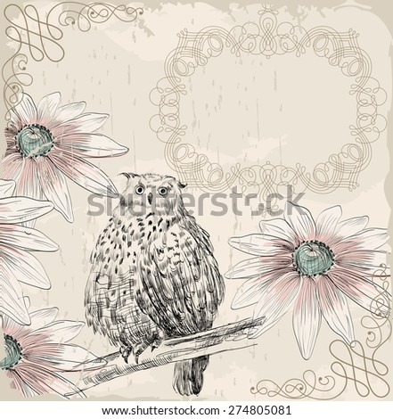 Retro background. Illustration of a owl and blooming summer flowers - stock vector