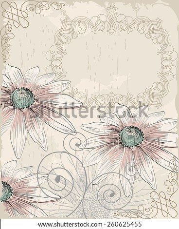 Retro background. Illustration of blooming summer flowers - stock vector