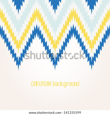 Retro background in vintage blue and yellow color. Beautiful chevron texture. Abstract invitation card with zig zag ornament. Classic background. Background for your textile or skin design.