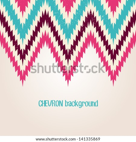 Retro background in vintage brightl color. Beautiful chevron texture. Abstract invitation card with zig zag ornament. Classic background. Background for your textile or skin design.