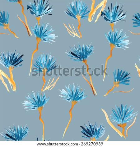 Retro background made of water colored flowers, Vintage hipster seamless pattern. - stock vector