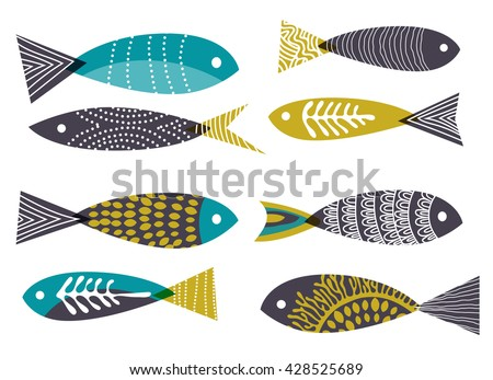 Retro background, stylised fish, eps10 vector - stock vector