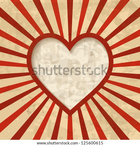 retro background with a heart frame - stock vector