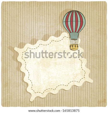 retro background with air balloon - vector illustration - stock vector