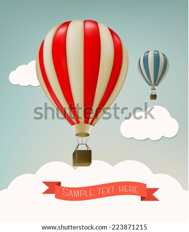 Retro background with colorful air balloons and clouds. Vector. - stock vector