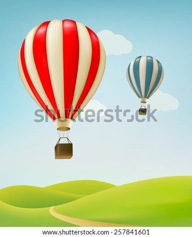Retro background with colorful air balloons and green land. Vector.  - stock vector