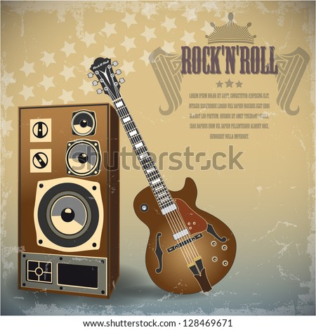 Retro background with electric guitar. Vector. - stock vector