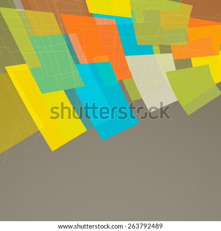 retro background with flying bright shapes - stock vector