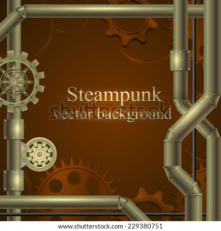 retro background with gears and tubes in shades of brown. Steampunk. vector illustration - stock vector