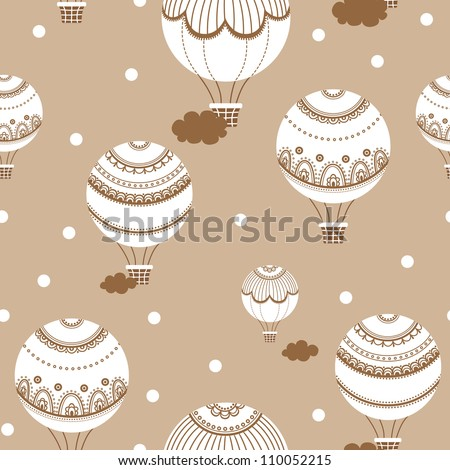 Retro background with hot air balloons. Vector illustration of colorful hot air balloons - stock vector