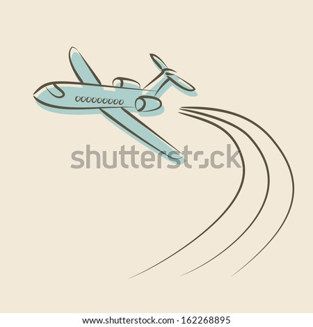 retro background with plane - vector illustration - stock vector