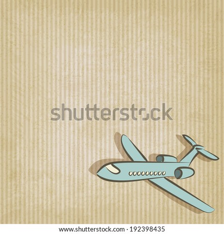 retro background with plane - vector illustration. eps 10 - stock vector