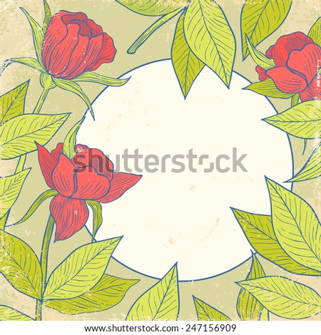 Retro background with red flowers - stock vector