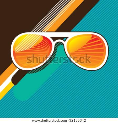 Retro background with sunglasses. Vector illustration. - stock vector