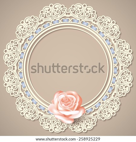 retro background with white empty lace frame doily, realistic rose on beige background. in pastel colors.  for greeting, birthday card, wedding invitation. vector illustration. - stock vector