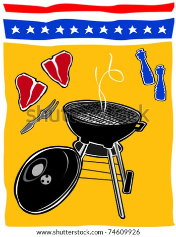 Retro Backyard BBQ Summertime Fourth of July Food & Fun Series Vector Illustration - stock vector