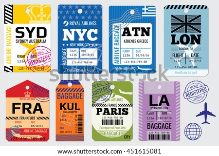 Retro baggage tags and travel tags vector stock. Illustration set of tag for baggage - stock vector