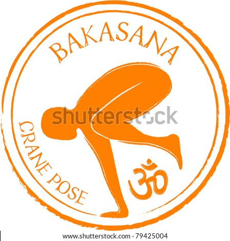 Retro Bakasna Crane Yoga Pose in Passport Stamp Style Vector Illustration - stock vector