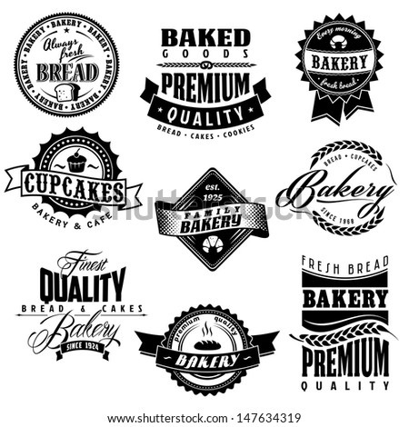 Retro bakery labels collections - stock vector