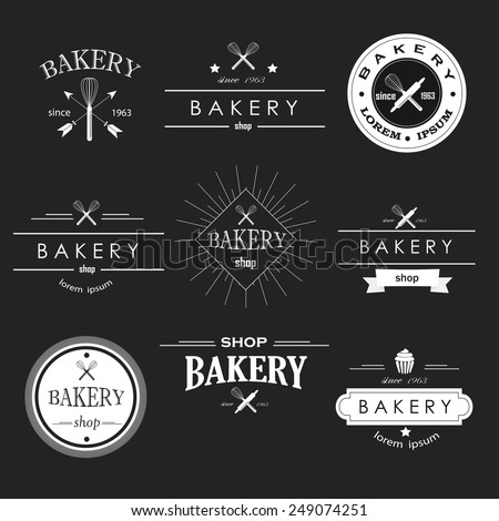 Retro bakery logotypes set. Vector design elements.Vintage badges and labels set. - stock vector