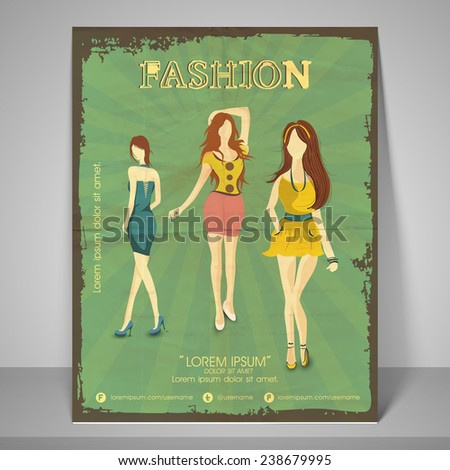 Retro banner and flyer for fashion show with image of young girls wearing stylish clothes with address bar and mailer. - stock vector