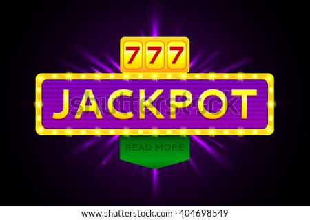 Retro banner of jackpot with glowing lamps. Vector illustration for winners of lottery, winners of poker, winners of cards and winners of roulette.