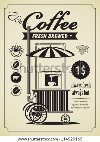 Retro banner with a mobile place to sell coffee - stock vector