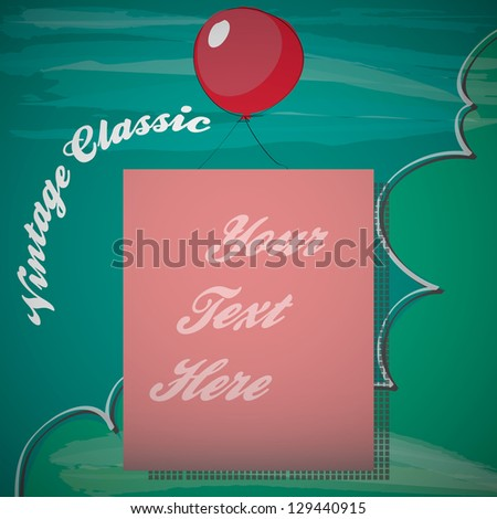Retro Banner with balloon - stock vector