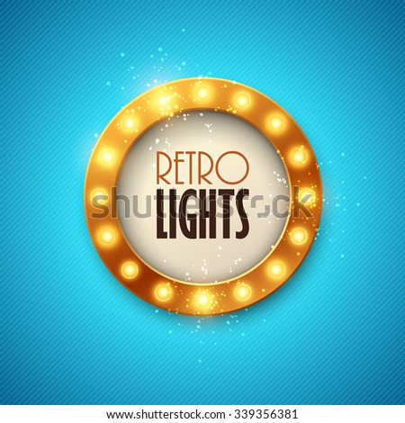 Retro banner with shining lights. - stock vector