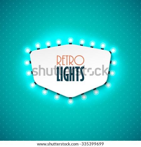 Retro banner with shining lights. Vector illustration. - stock vector