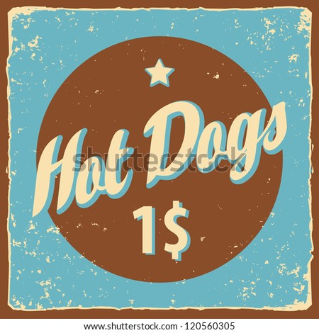 Retro banner with the inscription Hot Dog - stock vector
