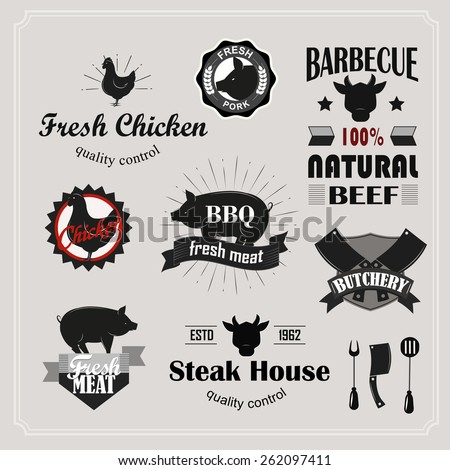 Retro barbecue, steak house and meat shop logotypes set. Vector design elements.Vintage badges and labels set. - stock vector