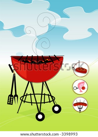 Retro Barbeque! Includes a set of bbq icons. - stock vector