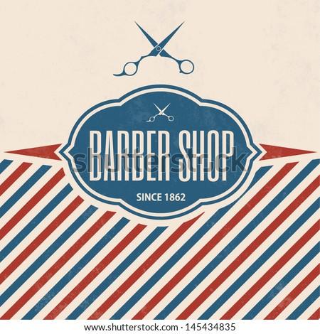 Retro Barber Shop Vintage Template - stock vector