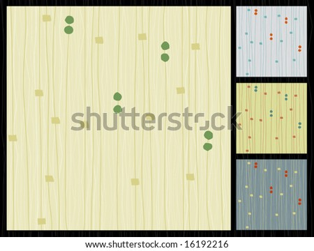 Retro barkcloth fabric-inspired design with lines and dots. Easy to change colors. Each item is grouped so you can use them independently from the background. Layered file for easy edit. - stock vector