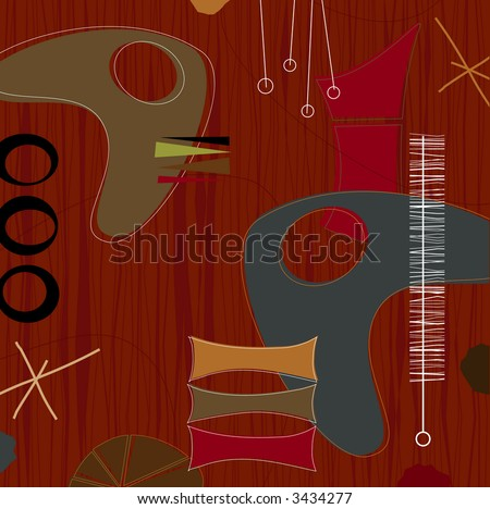 Retro barkcloth fabric-inspired design with shapes and boomerangs. Each item is grouped so you can use them independently from the background. Layered file for easy edit--no transparencies or strokes! - stock vector