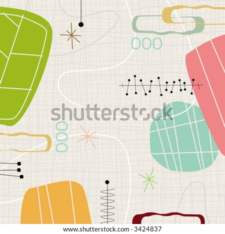 Retro barkcloth fabric inspired design with shapes and stars. Each item is grouped so you can use them independently from the background. Layered file for easy edit--no transparencies or strokes! - stock vector
