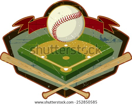 Retro Baseball Shield with Field and Bats A vintage crest design. Find more weathered sports designs in my portfolio - stock vector