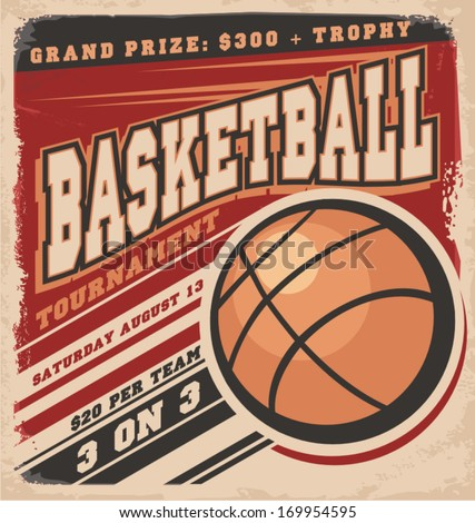 Retro basketball poster design. Vintage sport flyer design concept. - stock vector