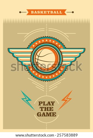 Retro basketball poster with coat of arms. Vector illustration. - stock vector