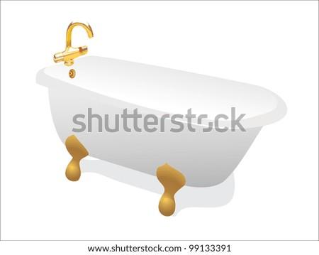 retro bathtub - stock vector