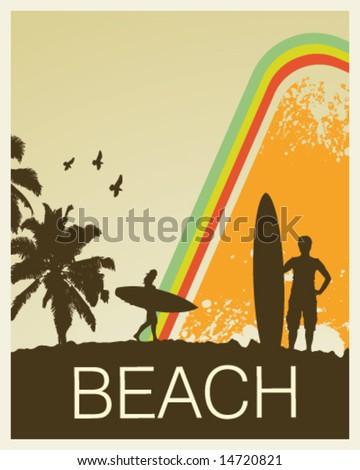 Retro Beach - stock vector